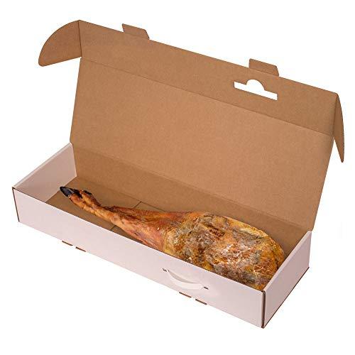 KARTOX | Caja para Jamon |Caja de cartón para Paleta de jamón |Color Blanco | 80x25,5x13 | 2 Unidades