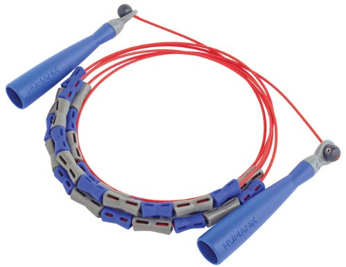 Harbinger HumanX Beaded X2 Speed Rope, Blue/Gray/Red