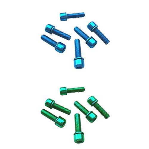 Nobranded 12 Piezas Tornillos Hexagonales M5x18 Pernos para Vástago del Manillar Parrilla Trasera Azul + Verde