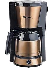 Bestron ACM1000CO Koffiezetapparaat voor gemalen filterkoffie, met thermokan voor 8 kopjes, 900W, koper