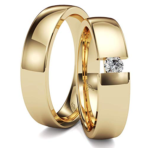 KOLIBRI RINGS GOLD- Eheringe Paarpreis Gold 333 Massiv mit Diamant Brillant Spannringoptik Trauringe Verlobungsringe Partnerringe 100% Made in Germany- Inkl. Gratis Etui + Gravur + Zertifikat