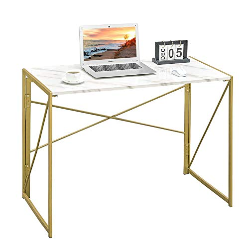 Coavas Folding Table No Assembly Required, 40' Writing Computer Desk Space Saving Foldable Table Simple Home Office Desk,White Marble Desktop Gold Frame