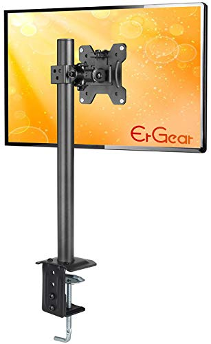 ErGear Monitor Mount for 1327quot Computer Screens Improved LCD/LED Monitor Riser Height/Angle Adjustable Single Desk Mount StandHolds up to 176lbs Black  EGCM12
