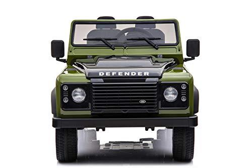RIRICAR Automobilina elettrica per Bambini Land Rover Defender, autorizzata, Radio con Ingresso USB / TF, Telecomando 2.4Ghz, Batteria 2 x 12V / 7AH, Motore 4