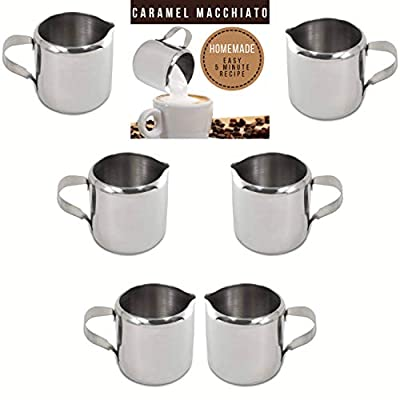 Stainless Steel Coffee Creamer Pitcher | 6 Mini Pitcher for Creamer 2 ounce | Tiny Syrup or Sauce Dispenser | Caramel Macchiato Coffee Creamer Recipe (2 oz)