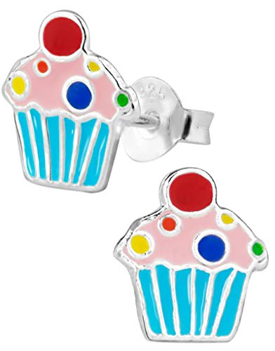 Hypoallergenic Sterling Silver Sweet Treats Stud Earrings for Kids (Blue Cupcake)