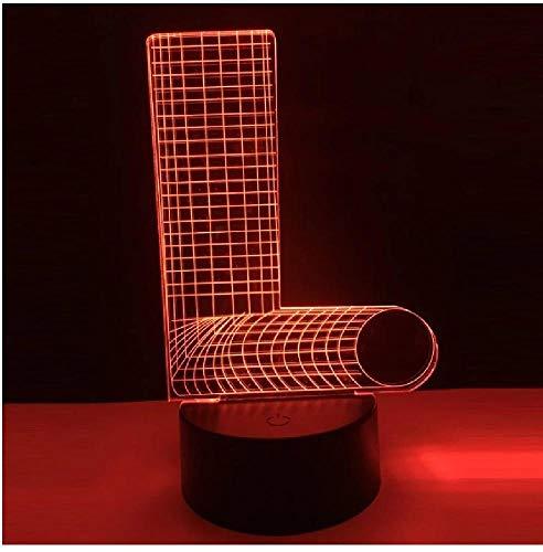 Lámpara 3D Alfabeto Letra L 7 Cambio de color Luz de noche de escritorio Interruptor USB Luz de atmósfera para bebés Decoración de lámpara para niños