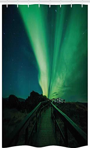 ABAKUHAUS Nordlicht Schmaler Duschvorhang, Magisches Himmel Brücke, Badezimmer Deko Set aus Stoff mit Haken, 120 x 180 cm, Farngrün & Dunkelblau