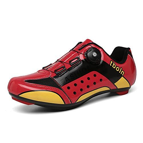CHANGAN Zapatillas de Ciclismo EVO Rojo, para Carretera, con Suela de Carbono,Muy rigida y Ligera y Triple Tira de Velcro. Red-41