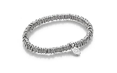 YoungDiamondFashion YDF Loop Silberarmband Silberkette elastisch mit echtem Diamant 0,01 Karat 925 Sterlingsilber Brautschmuck Dirndlschmuck Armkette flexibel Länge 18 cm