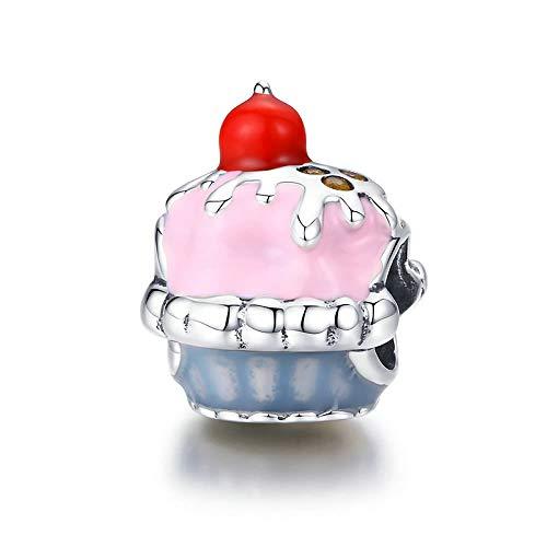 Ciondolo a forma di torta in argento Sterling 925 con smalto rosa, adatto per braccialetti in argento, regalo di San Valentino