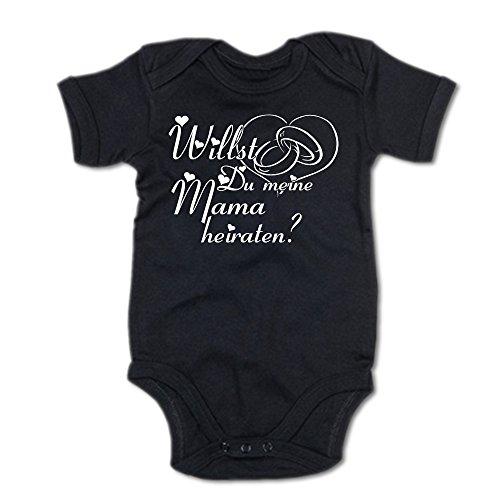 G-graphics Willst Du Meine Mama heiraten? Baby Body Suite Strampler 250.0205 (0-3 Monate, schwarz)