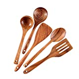 Healthy Cooking Utensils Set Wooden Cooking Tools and storage wooden barrel- Natural Nonstick Hard...