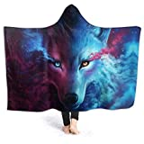 MSGUIDE Galaxy Wolf Hooded Blanket Anti-Pilling Flannel Wearable Blanket Hoodie-Plush Warm Blanket Throw Blankets Fit for Kids, Adults, Teens