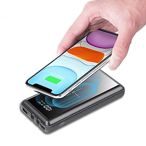 FANGZI Banco de energíaCargador inalámbrico portátil de 25000 mah, Banco de energía, batería Externa, Carga inalámbrica, USB Tipo C, Powerbank para 11 X Samsung