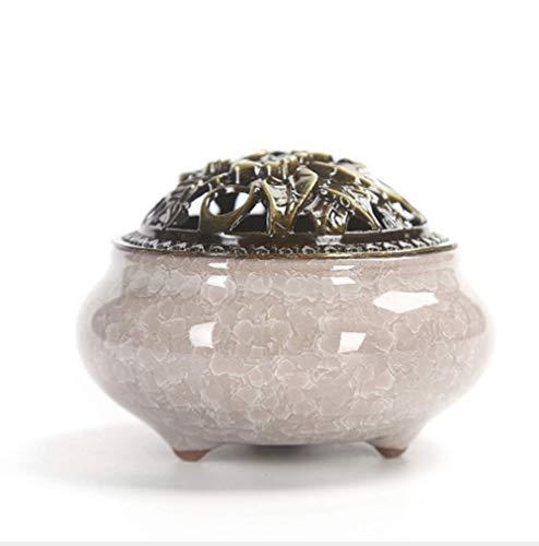 Mayco Bell Incensario de cerámica para decoración del hogar, quemador de incienso de humo creativo, soporte para varillas de incienso (beige)