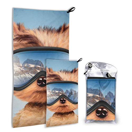 WJJSXKA Funny Dog Wearing Ski Goggles Winter 2 Pack Microfiber Kids Towel Women Beach Towel Set Fast Drying Best for Gym Travel Backpacking Yoga Fitnes