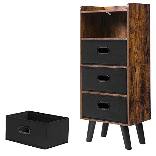 HOOBRO Kommode Schrank, Schubladenschrank mit 4 abnehmbar Schubladen, Vliesstoff, Sideboard, Anti-Einzugs-Design, Mehrzweckschrank, für Schlafzimmer, Arbeitszimmer, Dunkelbraun -Schwarz EBF40CW01