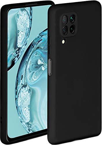 ONEFLOW Soft Hülle kompatibel mit Huawei P40 Lite Hülle aus Silikon, erhöhte Kante für Displayschutz, zweilagig, weiche Handyhülle - matt Schwarz