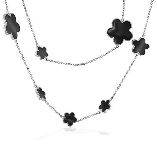 Bling Jewelry Nero Fiore di Trifoglio Lunga in Ottone Placcato Argento Stagno Stazione Cup Catena Strato Collana per Donne 42 Pollici