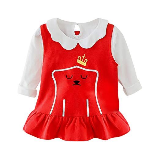 Moneycom❤Toddler Baby Kids Girls Spring Peter Pan Collar Solid T-Shirt Cartoon Dress Set Rouge(3-4 Ans)
