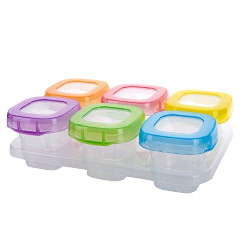TOPBATHY 6pcs Contenedor Recipiente de Alimentos Comida para Bebé Envase de Silicona para Alimentos y Papillas Bandeja Molde para Congelar Alimentos de Bebé con Tapa Segura 60ml (Colores Mezclados)