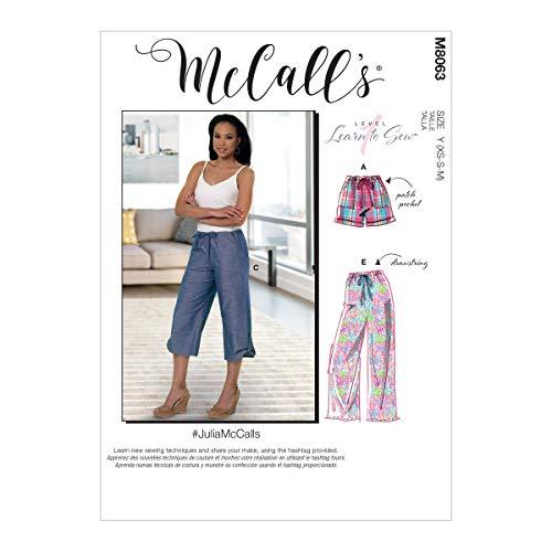 McCalls Patroon M8063Y Misses' Trekkoord Shorts en Broek met Pockets Y (XSM-SML-MED), Diverse