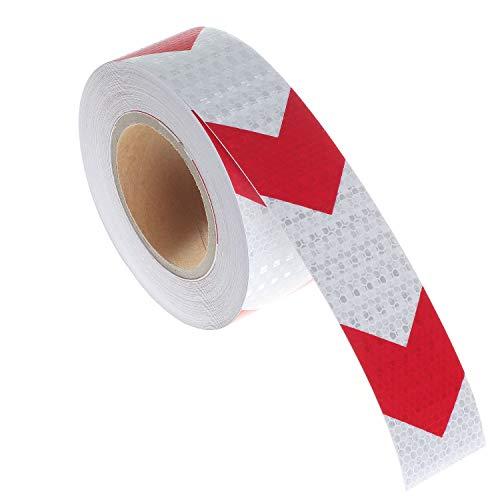 TUKA-i-AKUT 25m x 5cm Cinta Adhesiva de Advertencia Reflexiva. Tira Seguridad Alta Visibilidad, Flecha de Orietación/Señal. Pegatinas Reflexión Nocturna, Flechas Rojo y Blanco, TKD5031