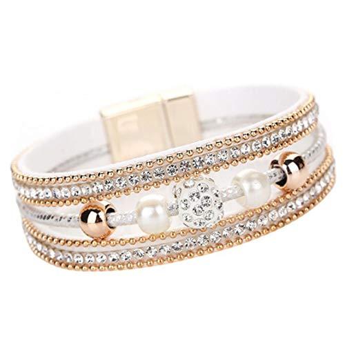 LJJYD Mehrschichtige Armbandperlen Wickelarmband Handgelenkmanschette Armreifen mit Magnetschnalle für Frauen