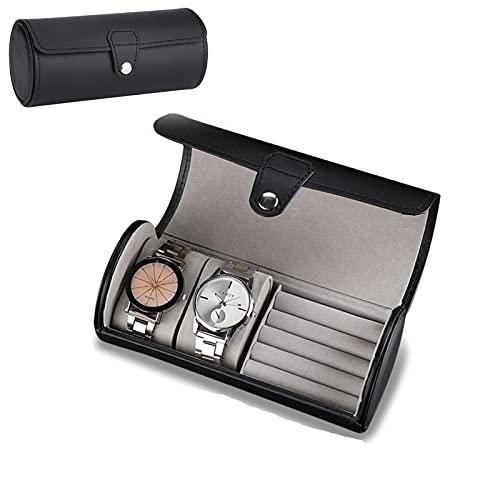 Rotekt Scatole da orologi, Scatola cilindrica di PU, Confezione regalo per orologio gioielli orecchini(01)