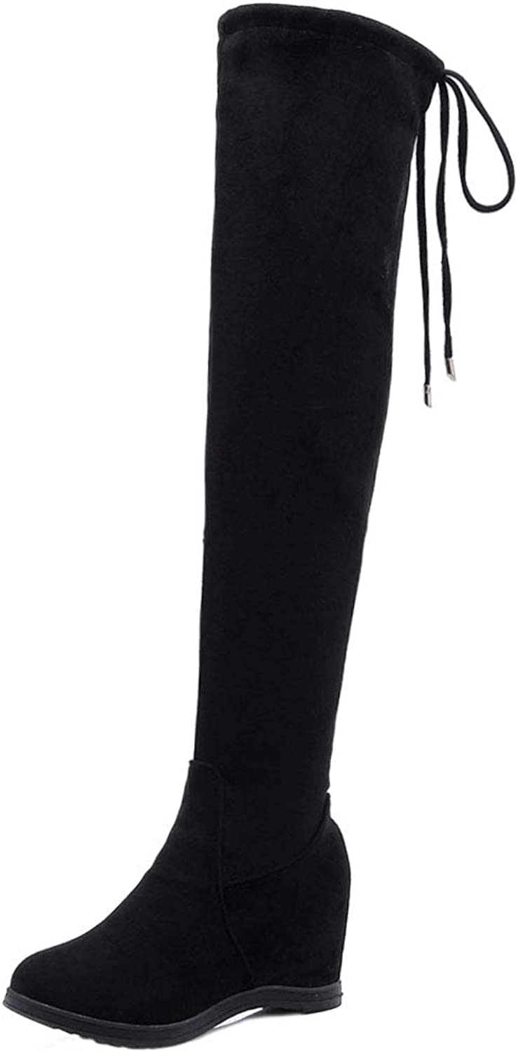 KemeKiss Ladies Height Increasing Thigh High Boots Lace Up Wedges Boots Warm Over-The-Knee Boots