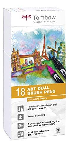 Tombow ABT-18P-2 Fasermaler Dual Brush Stift mit zwei Spitzen, 18er Set, Sekundärfarben
