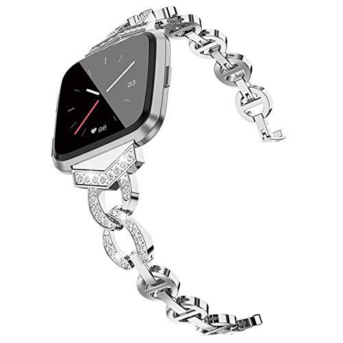 XIALEY Correa De Diamantes De Imitación Compatible con Fitbit Versa 3 / Sense, Correas De Repuesto para Mujer Correa De Reloj Pulsera De Metal Compatible con Versa 3 / Sense,Plata