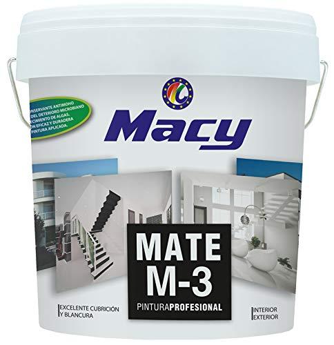 Macy Pintura Plástica Mate M-3 Antimoho para Interior y Exterior con Conservante...
