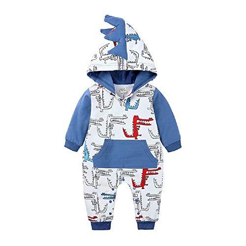 Hooyi - Mono con capucha para bebé con diseño de dinosaurio y cocodrilo, manga larga, con capucha, pijama para recién nacido