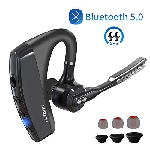 Dutison Bluetooth hoofdtelefoon zonder kabel 5.0, Bluetooth headset draadloze 2-microfoon CVC8.0, hoofdtelefoon oordopjes Mono Version Business oorhouder links/rechts geschikt voor iPhone Android