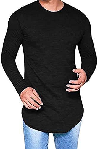 LIWEIKE Mens Solid Extended Hipster Hip Hop Swag Curve Hem Long Sleeve T Shirt (Black, Medium)