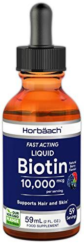 Biotin 10,000mcg | 59ml Vegan Liquid | Fast Acting | Support Hair, Skin & Nails | Non-GMO, Gluten Free Supplement