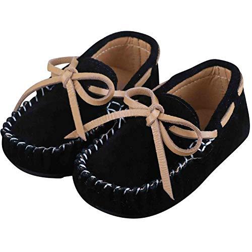 Mishansha Unisex-Kinder Mokassins Weiches Leder Jungen Mädchen rutschfest Loafers Slipper Flache Lauflernschuhe Bootsschuhe Schwarz Gr.26