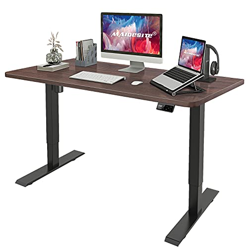MAIDeSITe Adjustable Height Electric Standing Desk, Ergonomic Stand Up Desk for Home Office, Sit Stand Desk with 48 x 24 inch Whole Piece Board, Quick Assembly Adjustable Table, Black Frame/WalnutTop