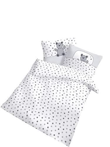 Dobnig Biber Baby Bettwäsche 100x135 cm - 40x60 cm | Made in Germany | Bettwäsche Set Silber Teddy mit Sterne | 100% Baumwolle