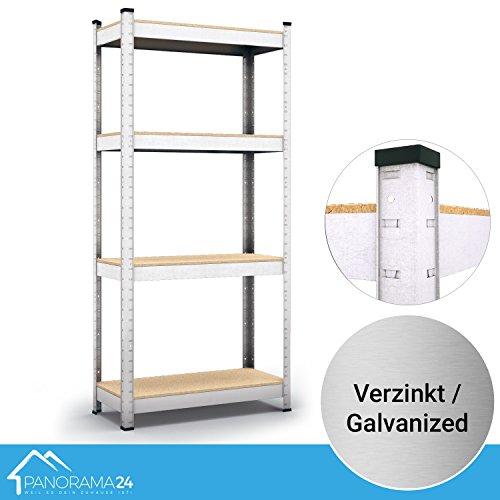 Panorama24 Lagerregal verzinkt belastbar bis 320kg - Maße: 160 x 80 x 40 cm, Regal Kellerregal Steckregal Werkstattregal Schwerlastregal
