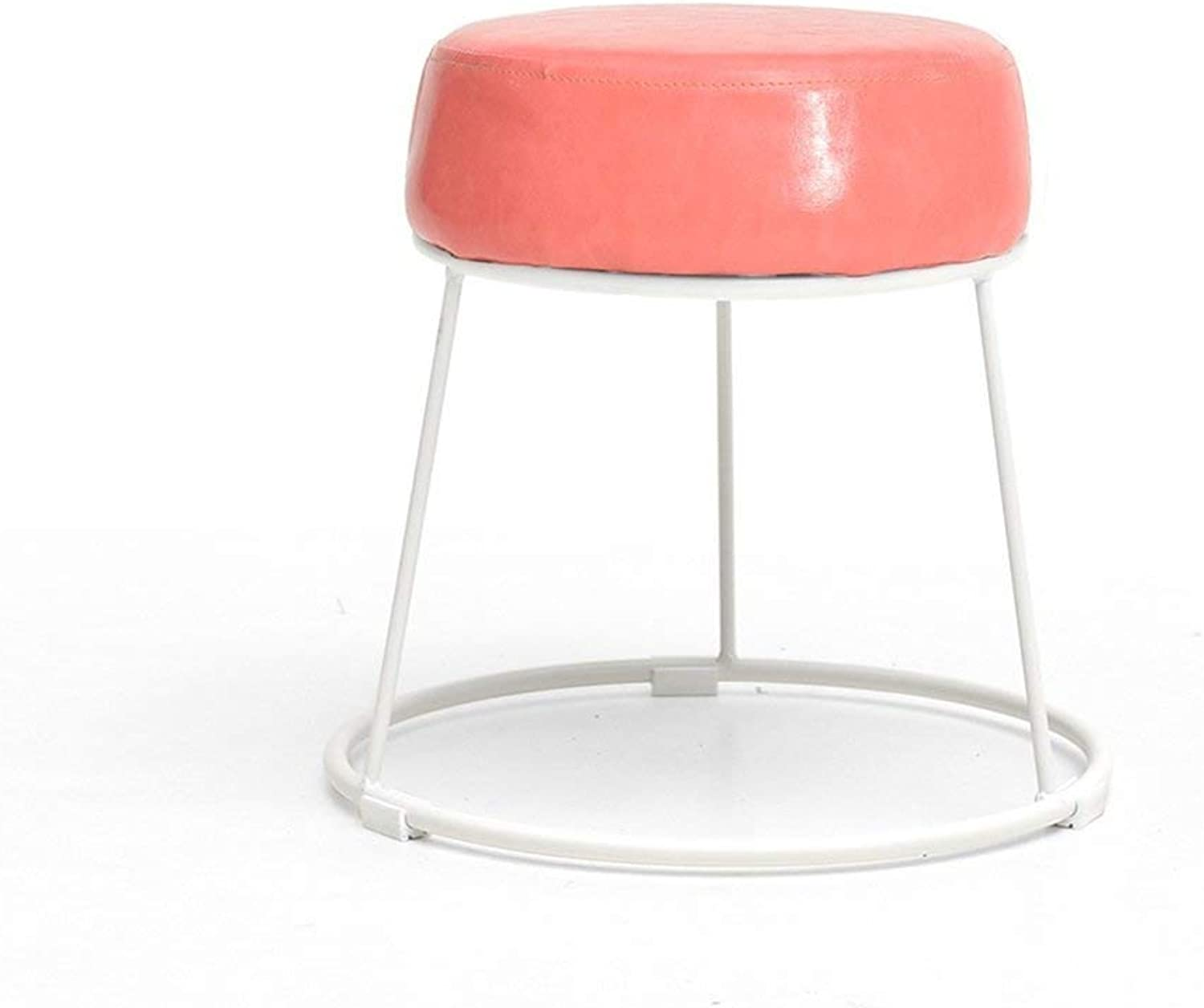 Comfortable Lounge Chair Fashion Makeup Stool Home Makeup Stool Iron Round Stool for Living Room Sofa Bench Dining Stool (color   Camel color) (color   Pink)