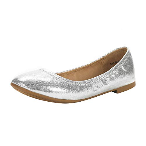 DREAM PAIRS Women's Slip On Round Toe Ballerina Ballet Flats Pumps Shoes Sole Happy Silver Size 11 US/ 9 UK