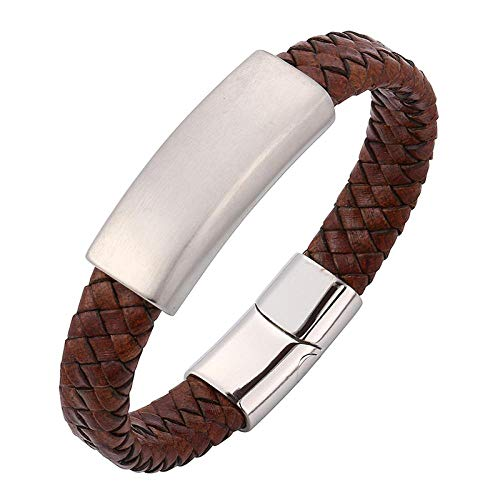 Jewellery Bracelets Bangle For Womens Vintage Brown Genuine Braided Leather Bracelet Men Silver Stainless Steel Clasp Wristband Bangles-Silver_Wearing_Length_165Mm