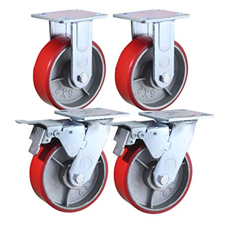 6' x 2' Heavy Duty Metal CASTERS with Poly Tread - Set of 4 Wheels, 2 Fixed, 2 Swivel w/Brakes - Swivel Casters are Locking - Foghorn Construction