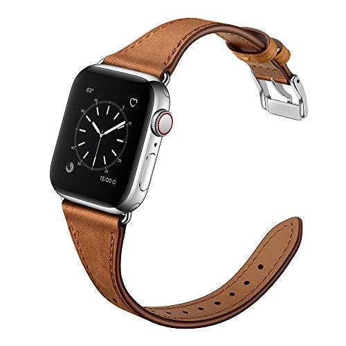 Arktis Lederarmband für Frauen kompatibel mit Apple Watch (SE, Series 6, Series 5, Series 4-44 mm) (Series 3, Series 2, Series 1-42 mm) [Echtes Leder] [Slim] mit Edelstahlschließe - Vintage Braun