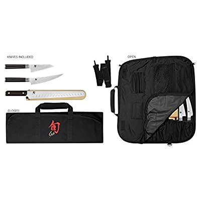 Shun Cutlery Classic 4-Piece BBQ Set; Includes Three Knives and One Knife Roll for Storage, 4.5-inch Asian Multi-Prep Knife, 6-inch Boning/Fillet Knife, 12-inch Brisket Knife, 8-Slot Knife Roll by Kai