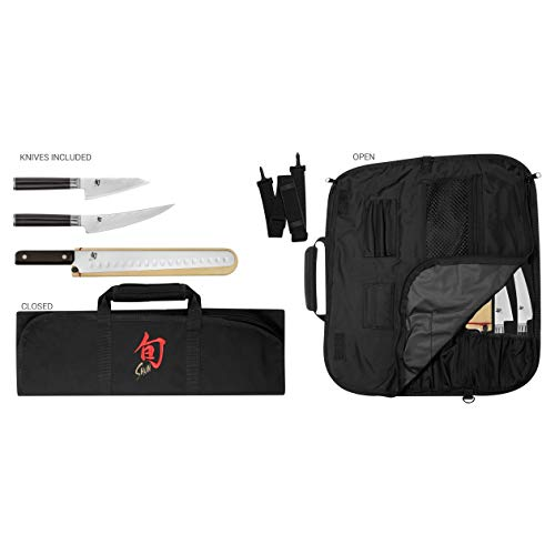 Shun Cutlery Classic 4-Piece BBQ Set; Includes Three Knives and One Knife Roll for Storage, 4.5-inch...