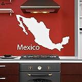 fancjj Tatuajes de Pared Mapa de México Etiqueta de La Pared Escuela Aula Arte Vinilo Decoración para el Hogar Interior Extraíble Niños Habitaciones Calcomanías Regalos 84x57 cm